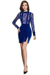 DARING TRANSPARENT BLUE LACE FLORAL MINI DRESS THIGH SPLIT