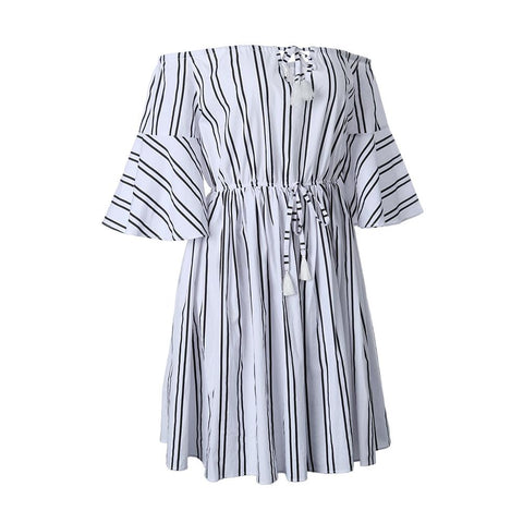 ADJUSTABLE WAISTBAND OFF THE SHOULDER STRIPED DRESS FLARED SLEEVES