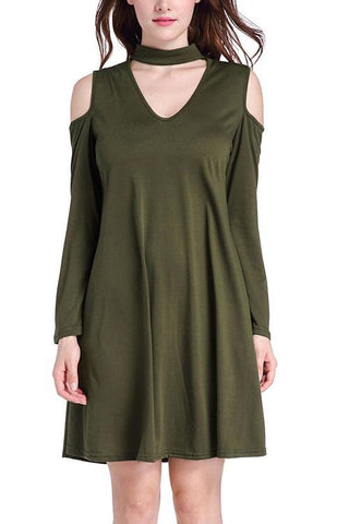 ARMY GREEN FULL SLEEVE SWING DRESS MINI LENGTH TRIANGLE CUT OUT