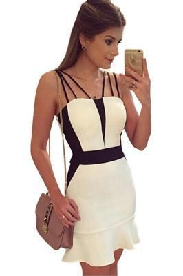 BLACK AND WHITE GIRL'S SLEEVELESS CASUAL SEXY MINI DRESS