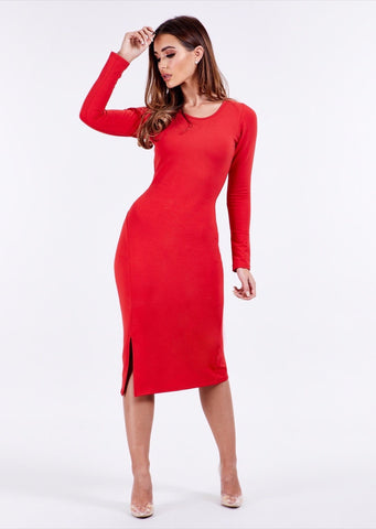 Round Neck Red Long Sleeve Midi Dress