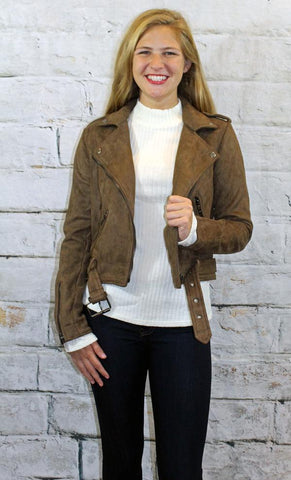 MOCHA SUEDE SHORT JACKET