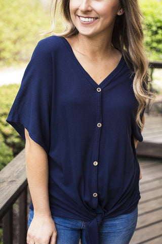NAVY THERMAL KNIT BUTTON DOWN TOP