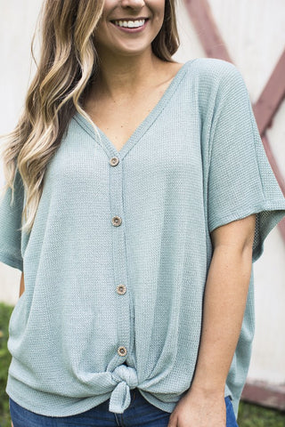 MINT THERMAL KNIT BUTTON DOWN TOP