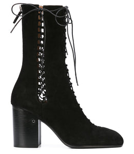 Black Suede Lace Up Boots