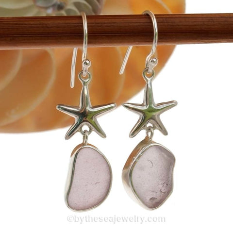 Limited Edition - Lovely Lavender Classically Set Sea Glass Earrings In Sterling With Starfish