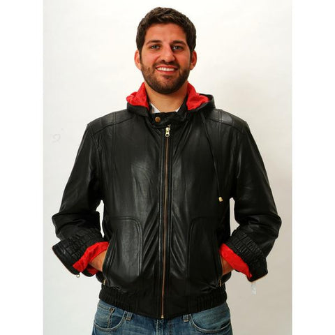 Mens Leather Jacket Hooded Hoodie Smooth Nappa Sheepskin Celebrity style