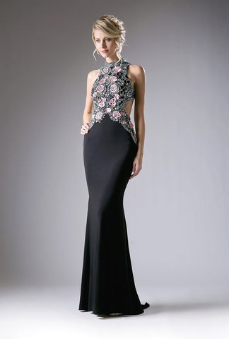 LONG BLACK DRESS WITH FLORAL EMBROIDERED TOP BY CINDERELLA DIVINE KC1799
