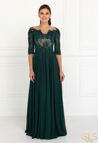 LONG GREEN CHIFFON DRESS WITH LACE SLEEVES BY ELIZABETH K GL1528