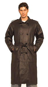Mens Long Black Naked Cowhide Leather Motorcycle Coat With Belt