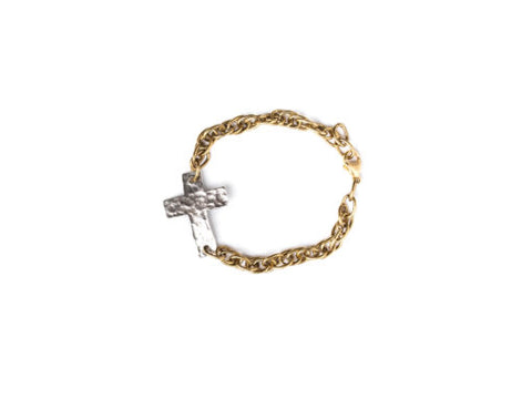Hammered Cross Chain Braclet