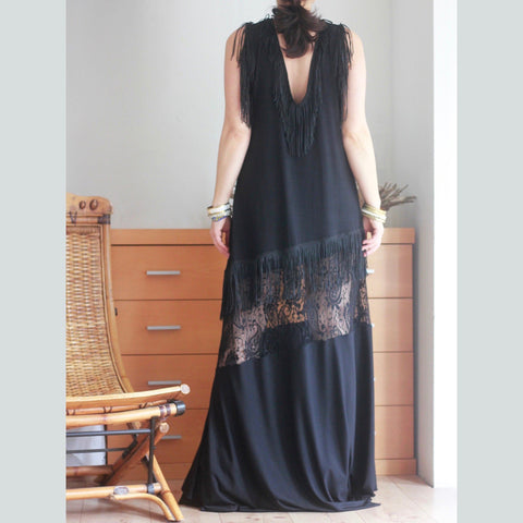 Sleeveless Open Back A Line Maxi Dress with Fringe