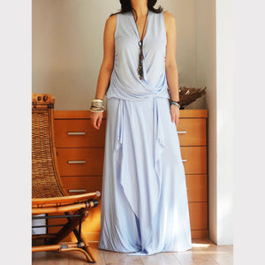 Twisted Maxi Dress in Pale Blue