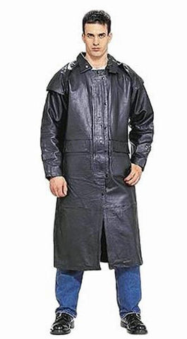 Mens Genuine Leather Biker Motorcycle Black Duster Coat Leg Strap & Removable Cape
