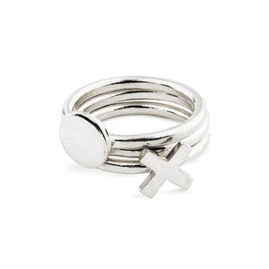 SILVER XO STACKING RINGS
