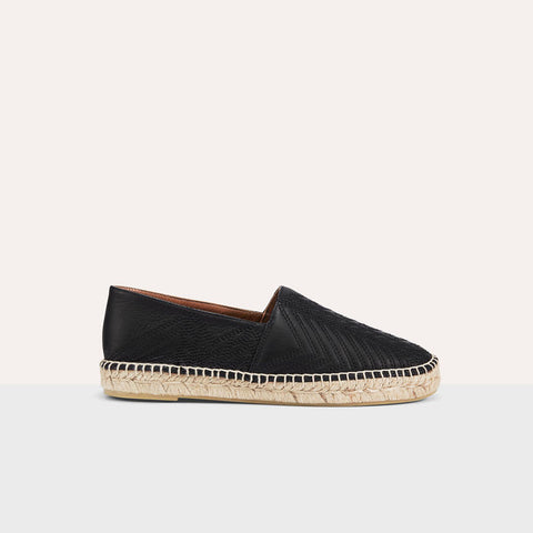 LEATHER ESPADRILLES WITH EMBROIDERY