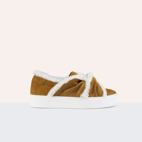 SUEDE TRAINERS WITH SHEARLING BOW