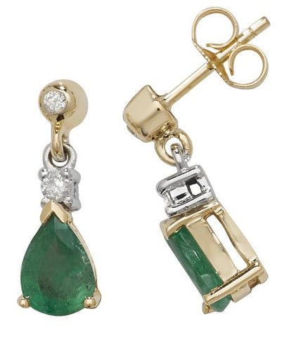 9ct Gold Ladies Diamond Drop Earrings 0.10 Carat with Emerald - 13mm*5mm WJS31729KY