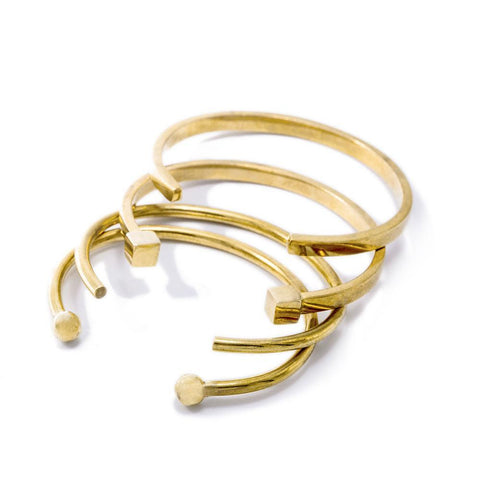 Brass Mixed Shapes Stacking Cuff Bracelets
