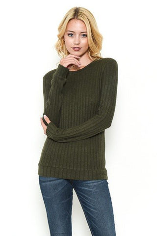SOFT TOUCH SWEATER - OLIVE
