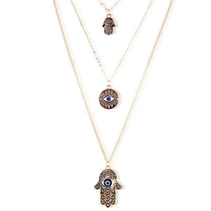 Blue Evil Eye Charms Hamsa Lucky Hand Pendant Necklace