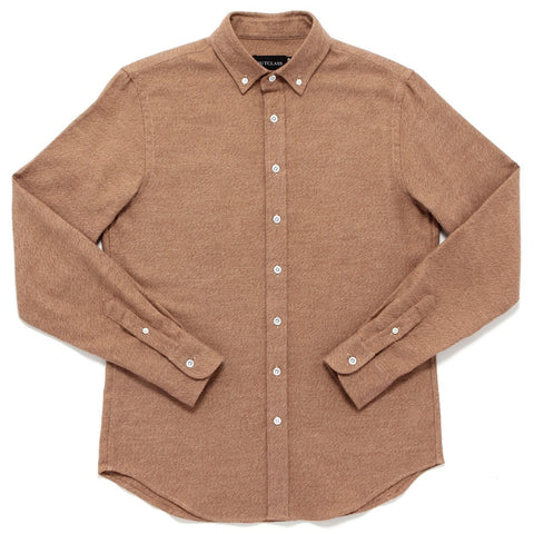 CAMEL HEATHER TWILL FLANNEL SHIRT