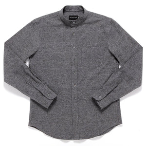 ASH GREY FLANNEL BAND COLLAR SHIRT