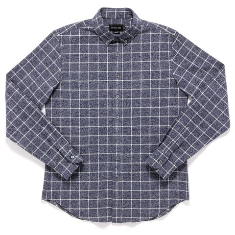 NAVY WINDOWPANE FLANNEL SHIRT
