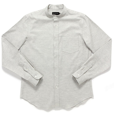 GLACIER GREY FLANNEL BAND COLLAR SHIRT