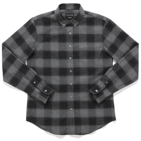 BLACK AND GREY BUFFALO PLAID FLANNEL SHIRT