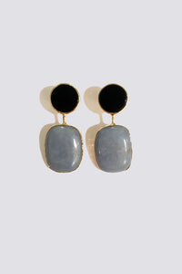 ONYX AND VINTAGE ANGELITE EARRINGS