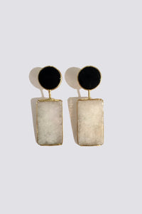 ONYX AND LIGHT GREEN JADE EARRINGS