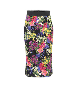 Floral stretch silk pencil skirt