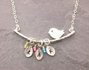 Bird Necklace with Leaves and Birthstones (1-5 Initials)