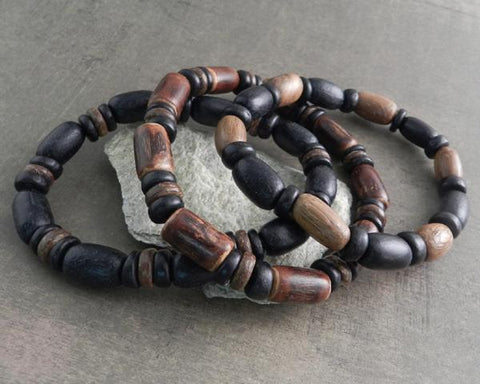 WOOD COCO BAMBOO STYLE BRACELET 3-PACK
