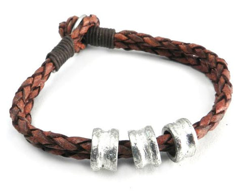 DOUBLE ROW LEATHER BRACELET WITH BEADS