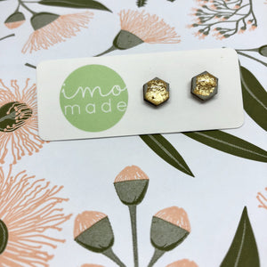 GREY GOLD LEAF STUDS