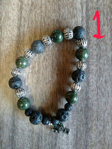TG -- Bracelet Lava Rock Essential Oil Diffuser Aromatherapy With Charm