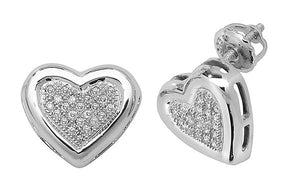 9ct Carat White Gold Ladies Heart Diamond Stud Earrings Brilliant Cut 0.13 Carat GH - SI