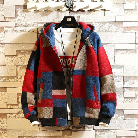 BLOCK DESIGN HOODED CASUAL WARM AND THICK JACKET