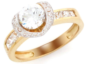 Round CZ Channel Set Engagement Ring