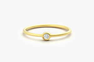 14K ROUND SOLITAIRE DIAMOND RING