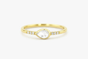 14K ROSE CUT DIAMOND ENGAGEMENT RING