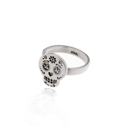 Mexicanized Skull Silver Ring