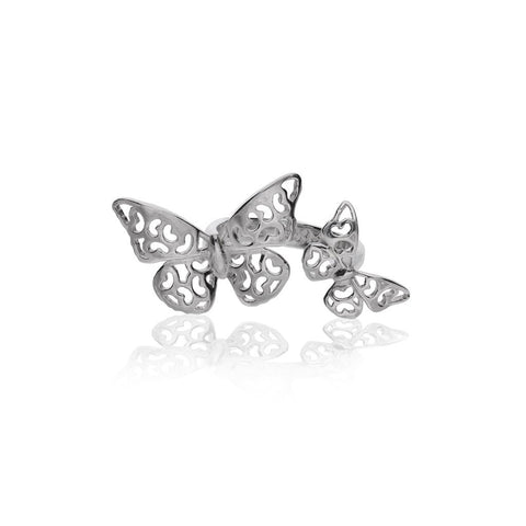 Silver Butterfly Double Anniversary Ring