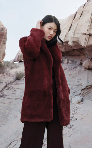 RENADA mid-length faux fur coat