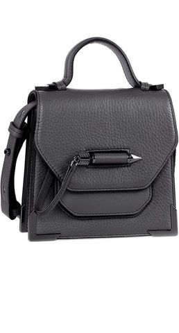 RUBIE STRUCTURED LEATHER SHOULDER BAG IN SLATE