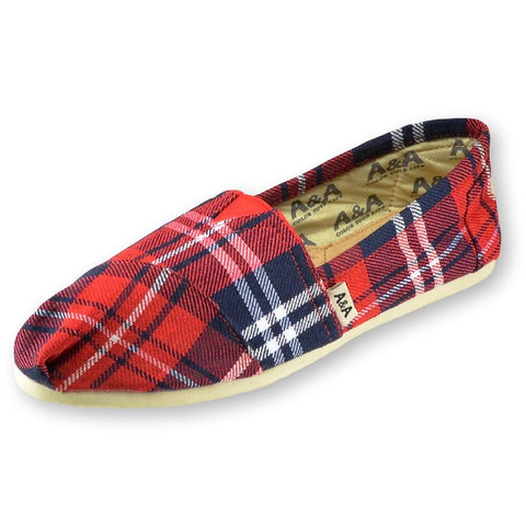 FLANNEL RED AND BLUE CANVAS SLIP ON SHOES FOR WOMEN