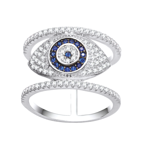 Blue and White Micro Pave Hamsa and Evil Eye Double Band Rhodium Plated Ring