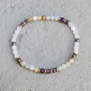 Rose Quartz and Amethyst Delicate Bracelet